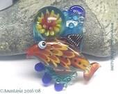 RED FISH...handmade lampwork bead...by Anastasia...SRA...ooak...