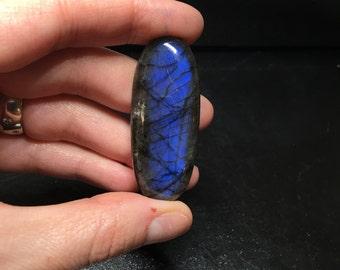 Blue labradorite cabochon gemstone # 623 oval flashy blue