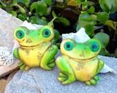 FREE SHIPPING..Vintage PAIR Lightweight Unique Frog Plaques-Wall Decor-Kitschy-Retro-Mod-Hippie-Garden Decor-Nursery Decor