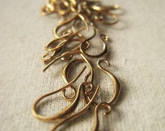 Gold Earring Pair Brass Fish Hook Earwire Shepherds Hookk Earwire Item No. 3104