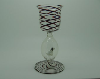 Vintage Swirled Glass Cordial with Tiny Glass Dog
