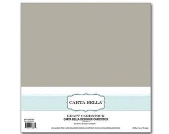 SALE Carta Bella Designer Cardstock Kraft 12x12 25 sheets