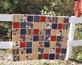 Vintage Look Americana Rag Quilt, Lap Quilt, Rust Red, Blues, Paisley, Stripe, Floral, Handmade, Americana Quilt