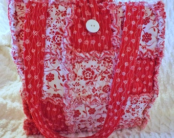 Rag Quilt Tote - Red and White Floral - Bold and Bright Red - Handmade - Handbag - Mother's Day