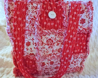 Rag Quilt Tote - Red and White Floral - Bold and Bright Red - Handmade - Rag Quilt Handbag