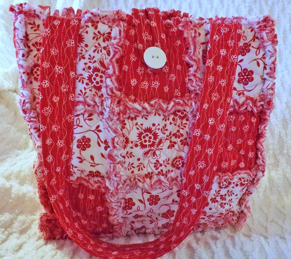 Rag Quilt Tote - Red and White Floral - Bold and Bright Red - Handmade - Handbag