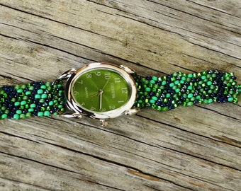 Father Time Green Face - Free Form Peyote Stitch Beaded Watch Bracelet - Jewelry