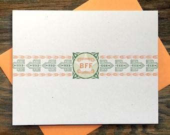 BFF letterpress card