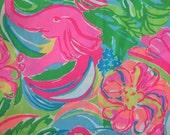 "lilly pulitzer's 2016 so apeeling poplin cotton fabric square 18""x18"""
