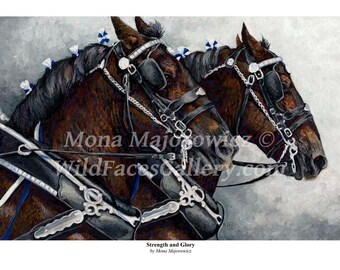 Strength and Glory - Percheron Draft Horse Team Print, horse art, draft horse art, western art, western decor. horse decor, horse painting