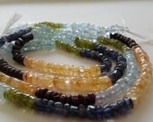 5x7mm Multi Precious Gemstone Bead Strand, Smooth Rondelle - FULL STRAND - 13.5 Inches
