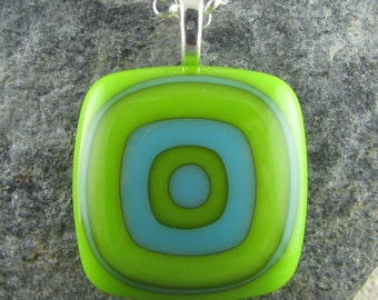 Turquoise & Lime Fused Glass Pendant Design. Geometric Jewelry. Handmade Glass Jewelry. Fused Glass Pendant. Mod Jewelry. Funky Glasswork.