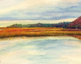 Original coastal watercolor painting, Marsh Dreams V