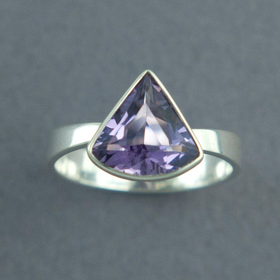 purple amethyst ring unique fan shaped solid