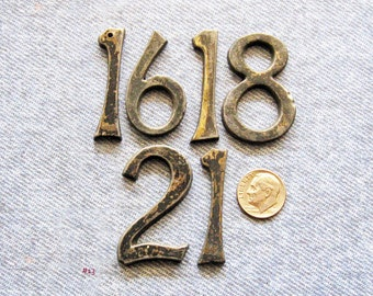 Brass Clock Number Lot Industrial Numbers 16 18 21 Antique Regulator Clock Parts Jewelry Art Steampunk Assemblage Embellishment Hardware