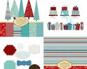 Blue and Red Christmas Design Set - Paper  and Clip art set - Christmas Cake Clip Art  Xmas 3