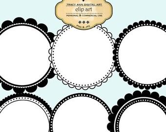 Round Clip Art Labels and Frames commercial use Digital Frames Labels (set 4)