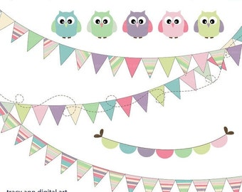 Candy Pastel Owls and party Bunting Clip Art