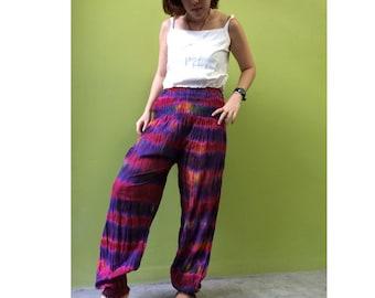 Boho Hippie Gypsy Tie Dye Rayon Smock Waist Long Aladdin Pants S-L (PR 1)