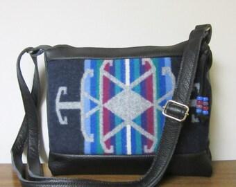 Wool Purse Shoulder Bag Messenger Black Leather Adjustable Strap Wool