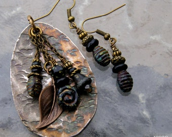 Hammered Spoon Necklace and Earrings