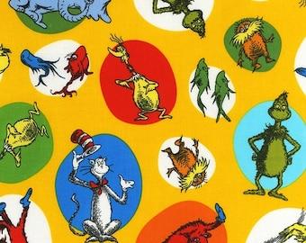 """FAT QUARTER FQ14 Dr. Seuss Celebrate Seuss Yellow ADE-11965-5 Precut 18""""x22"""" Fabric Cotton Quilting Robert Kaufman"""