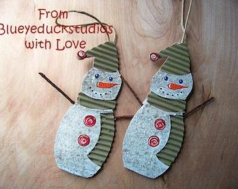 Christmas Tree, Recycled, UpCycled, Repurposed Cardboard SNOWMAN ornament, Christmas Tree, Handmade, Holiday Decoration, Folk Art, Mica Snow