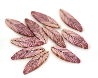 Feather Beads, Polymer Clay Bird Feather Beads, Purple Pink Beads 10 Pieces