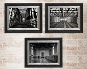 Geometric Photography Set, Train Bridge, Train Station and Warehouse, Black and White Film, Fine Art Photography, Modern Wall Art