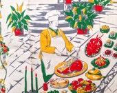 ONE Vintage chef man dish towel linen mid century red yellow home decor tea towel for kitchen bar ware cart cartoon