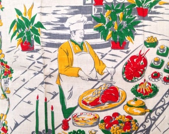 ONE Vintage chef man dish towel linen mid century red yellow home decor tea towel for kitchen bar ware cart cartoon