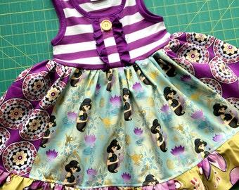 Private listing for Sheenarivzi Jasmine Aladin dress Disney Pink Momi boutique girls birthday vacation dress