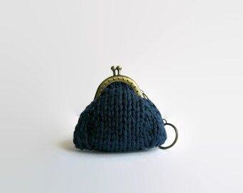 Coin Purse with Keychain Knitted in Navy Blue Cotton Yarn