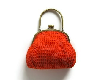Orange Cotton Small Clutch, Cute Evening Knitted Purse, Knitted Handbag, Women Handbag, Handbag, Summer Bag, Top Handles Bag, Ready to Ship
