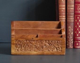 Carved Wood Desk Caddy Desk Organizer Floral Design