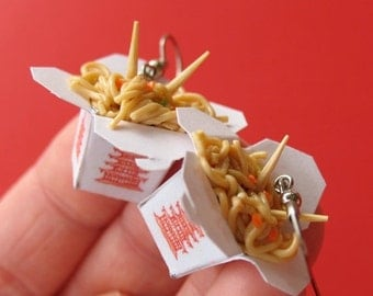 Christmas in July - Chinese Take Out Earrings, Miniature Food Jewelry, Polymer Clay Food Earrings