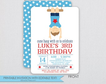 Boy Gymnastics Birthday Party Invitation - DIY - Instant Download & Editable File - Personalize at home with Adobe Reader