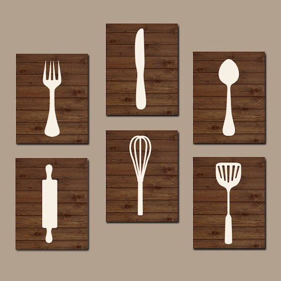 Wooden Utensil Wall Decor : Kitchen utensils wall art fork knife spoon canvas or prints
