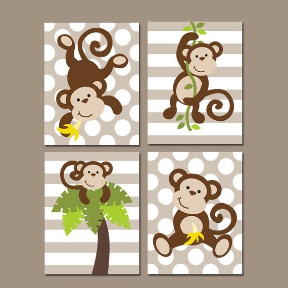 Boy Monkey Wall Art Canvas Or Prints Monkey Nursery Decor
