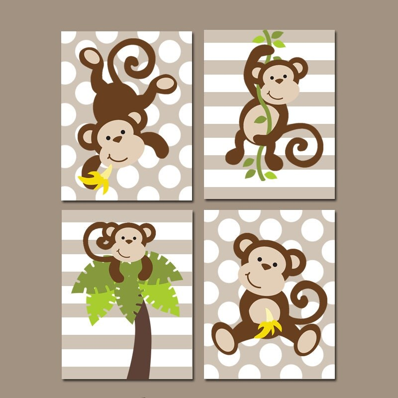 boy monkey wall art canvas or prints monkey nursery artwork bathroom jungle animal - Monkey Bedroom Decor