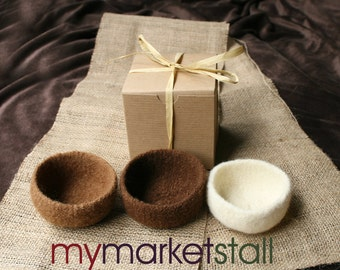 Felted Stacking Bowl Set - Milk Chocolate/Dark Chocolate/White Chocolate - Ready-to-Ship