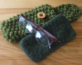 Bulky Knit Eyeglass Case w/Removable Felted Liner - Variety of Colors - In Stock - Ready to Ship