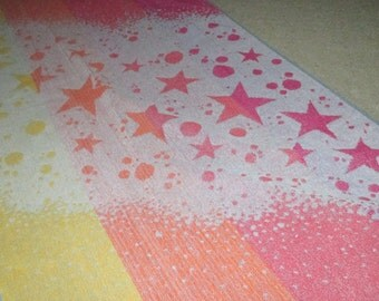 Vintage MOD Red Orange and Yellow Star Motif Beach Towel by Ipanema