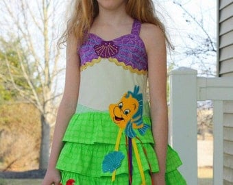 Mermaid ruffle dress custom sizes 2-12