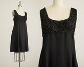 90s Vintage Black Ribbon Lace Bust Mini Jumper Dress / Size Large