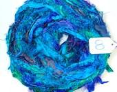 Sari Silk Ribbon, Recycled Silk Sari Ribbon, Turquoise Sapphire Fuzzy ribbon, multicolor ribbon, washed ribbon