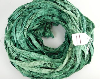 Sari silk Ribbon, Recycled Silk Sari Ribbon, teal green sari ribbon, Block print Sari Ribbon