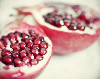 Pomegrante art fruit still life print red food photography red white kitchen wall art  square print - Pomegranate Love