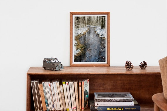 Nature Photography Print, Winter Art Photo, Icy Water, Melting Snow, Winter Decor, Woodlands, Ice, Icy Trees, Blue Stream, Forest - Ripples