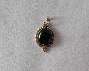 Black Onyx Cabochon Pendant/Charm - Sterling Silver